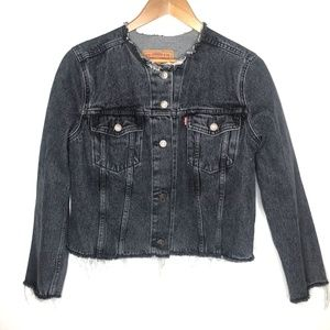 Levi's Black Distressed Raw Hem Denim Jacket